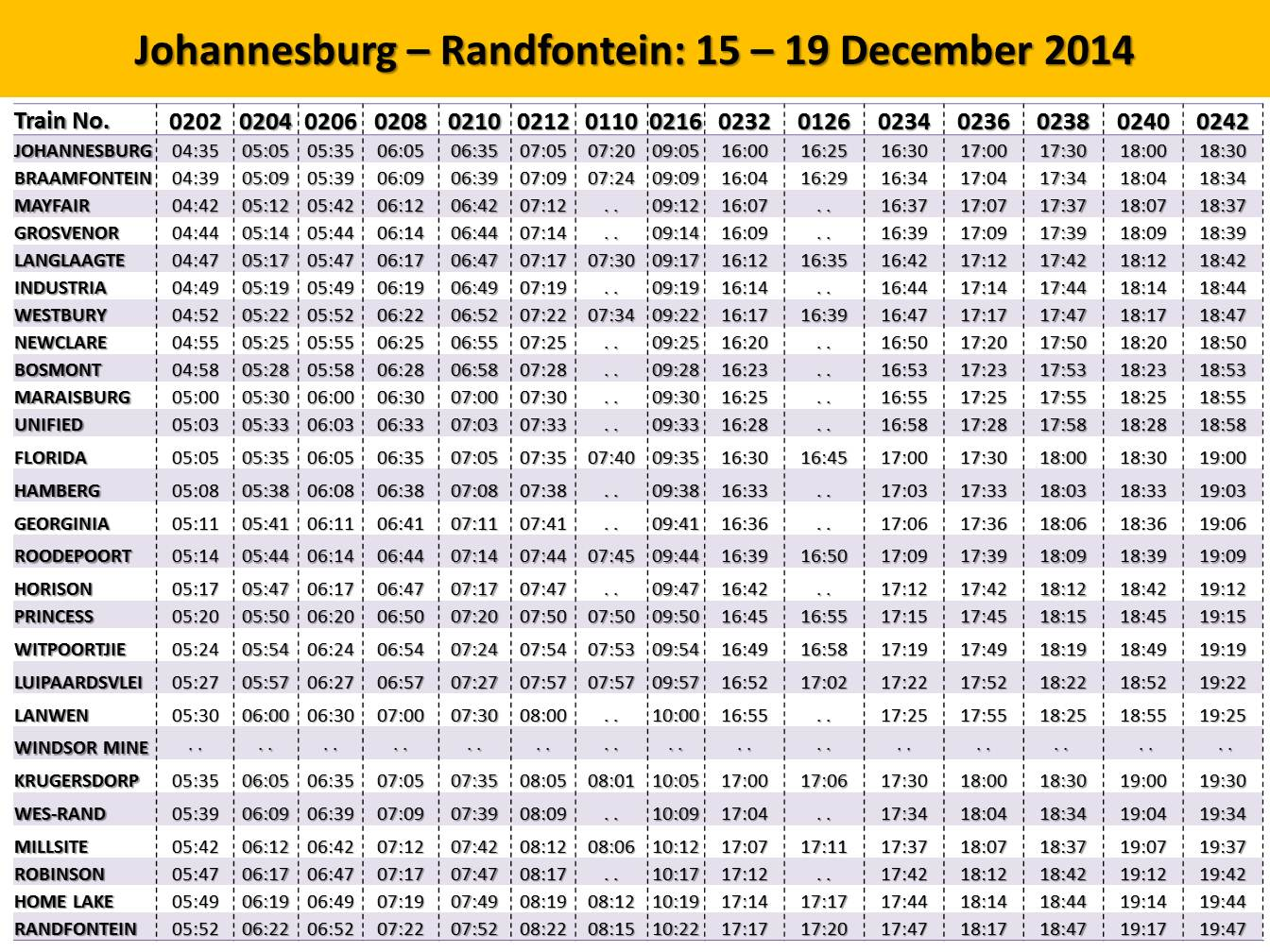 Metrorail Gauteng Season Schedule Now Available