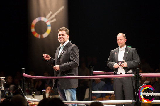 Justin Coetzee at the Get In The Ring (GITR) Global Entrepreneurship start-up competition in Rotterdam